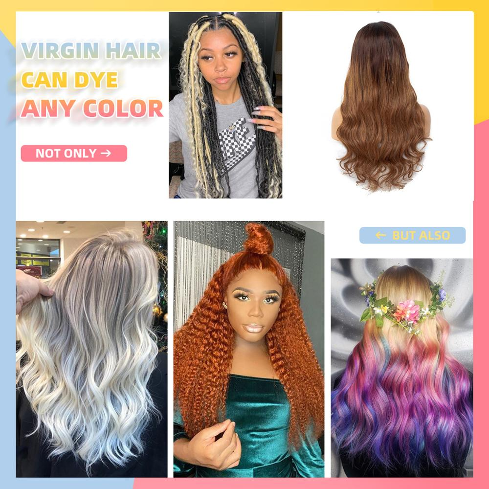 Ombre Colored Lace Front Human Hair Wigs 100% Brazilian Virgin Wavy Hair 13x4 Lace Front Wig Pre Plucked For Women WoWEbony