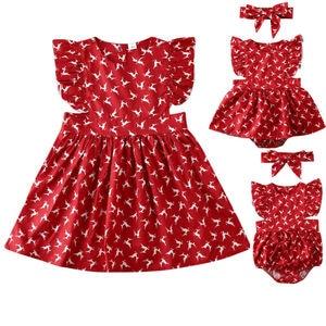 Lato noworodka maluch dziecko dziewczynka siostra Romper Tutu sukienka renifer pasujące ubrania pałąk kombinezon strój playsuit