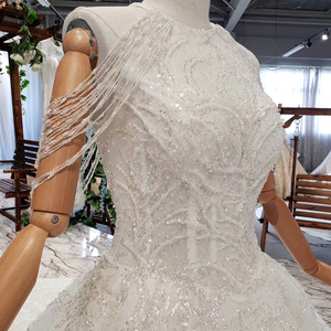 Image 5 - HTL620 wedding gowns with long train sleeveless beading sequined zipper O neck pleat wedding dress a line vestido de novia 2020