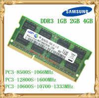 Memória ddr3 do portátil de samsung 4 gb 2 gb 1 gb 1066 1333 1600 mhz PC3-10600 8500 12800 ram 10600 s do caderno 2g 4g