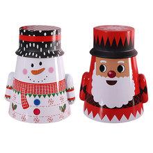 2 sztuk Christmas Tumbler Shaped schowek żelaza cukierki Box dekoracyjne pudło do pakowania dla domu Xmas ozdoby prezenty 2020 nowy rok 2021 tanie tanio CN (pochodzenie) Metal Christmas gift boxes