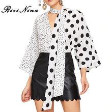 RICININA Fashion 2019 Womens Tops And Blouses Women Long Sleeve V Neck Polka Dot Boho Blouse Office Ladies Elegant Shirt