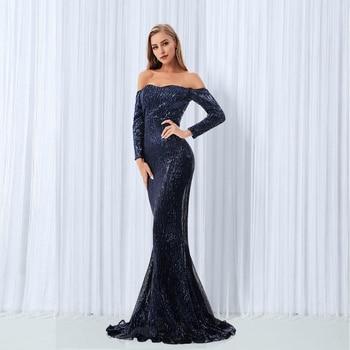 Elegant Slash Neck Sequined Maxi Dress Off the Shoulder Gold Navy Green Sequin Long Floor Length Party Gown - discount item  41% OFF Dresses