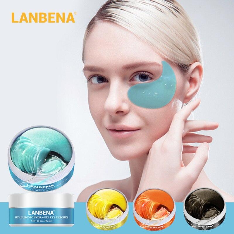 60 PCS LANBENA Eye Mask Collagen Eye Patch Moisturizing Remove Dark Circles Eye Bag Fine Line Anti-Puffiness Compact Skin Mask
