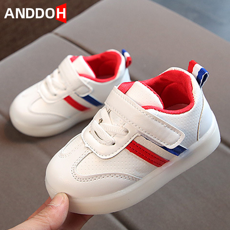 Size 21-30 Toddler Backlight Hook Loop Led Light Up Shoes Unisex Luminous Sneakers For Baby Glowing Shoes Sneakers With Light