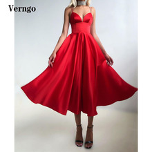 Verngo Simple Red/Black Satin A Line Evening Party Dresses Spaghetti Straps Corset Tea Length Formal Prom Gowns Custom Made