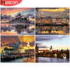 HUACAN DIY Pictures By Number City Landscape Kits Home Decor Painting By Numbers Sunset Drawing On Canvas HandPainted Art Gift