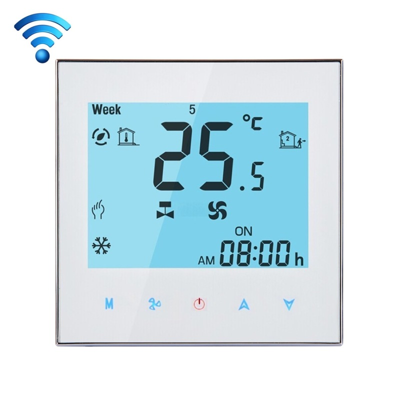LCD Display Air Conditioning 2-Pipe Programmable Room Thermostat For Fan Coil Unit, Supports Wifi