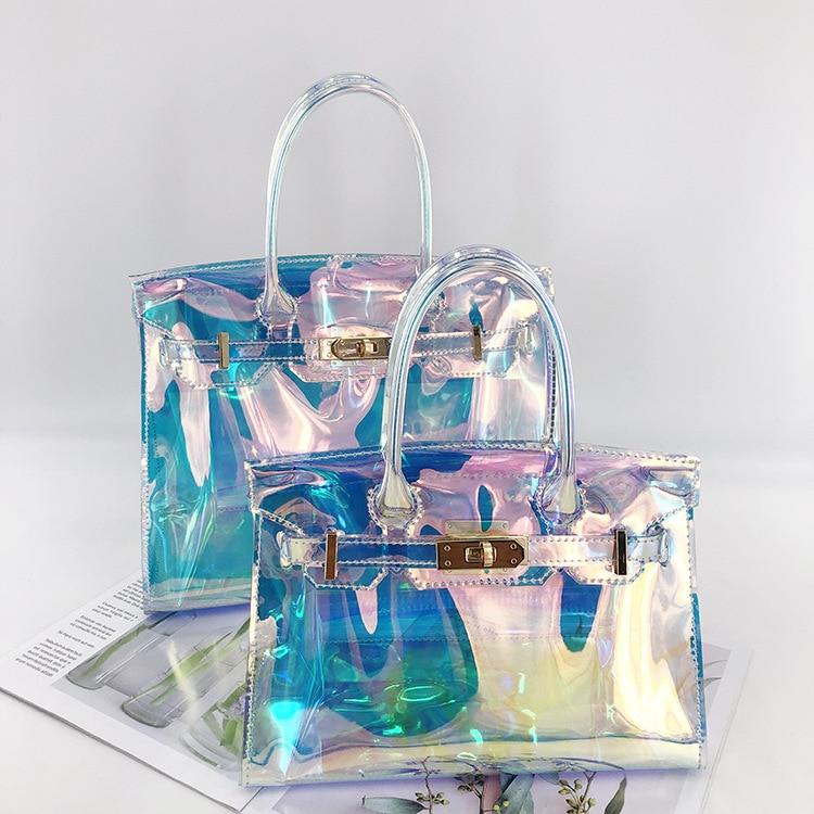 Laser PVC handbag for women evening bag transparent hologram fashion laser lady bag Femme Jelly purse beach bag sac holographic