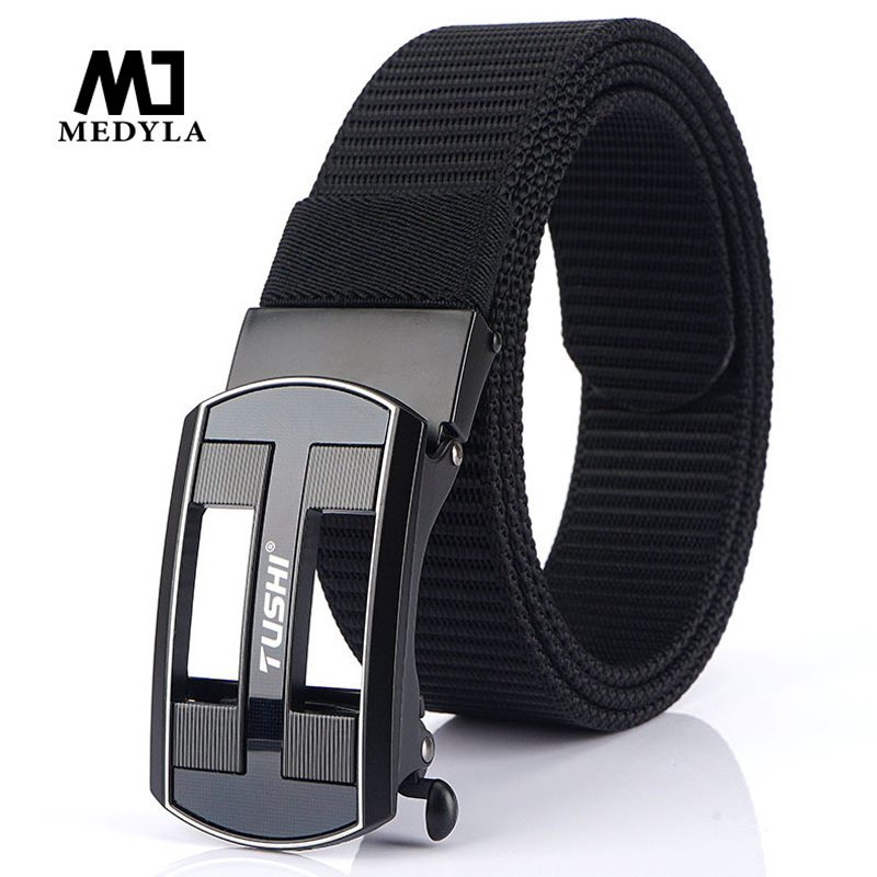 Medyla 2020 New Fashion Automatic Buckle Nylon Belt Men's And Women's Jeans Toothless Youth Casual Canvas Belt Dropshipping