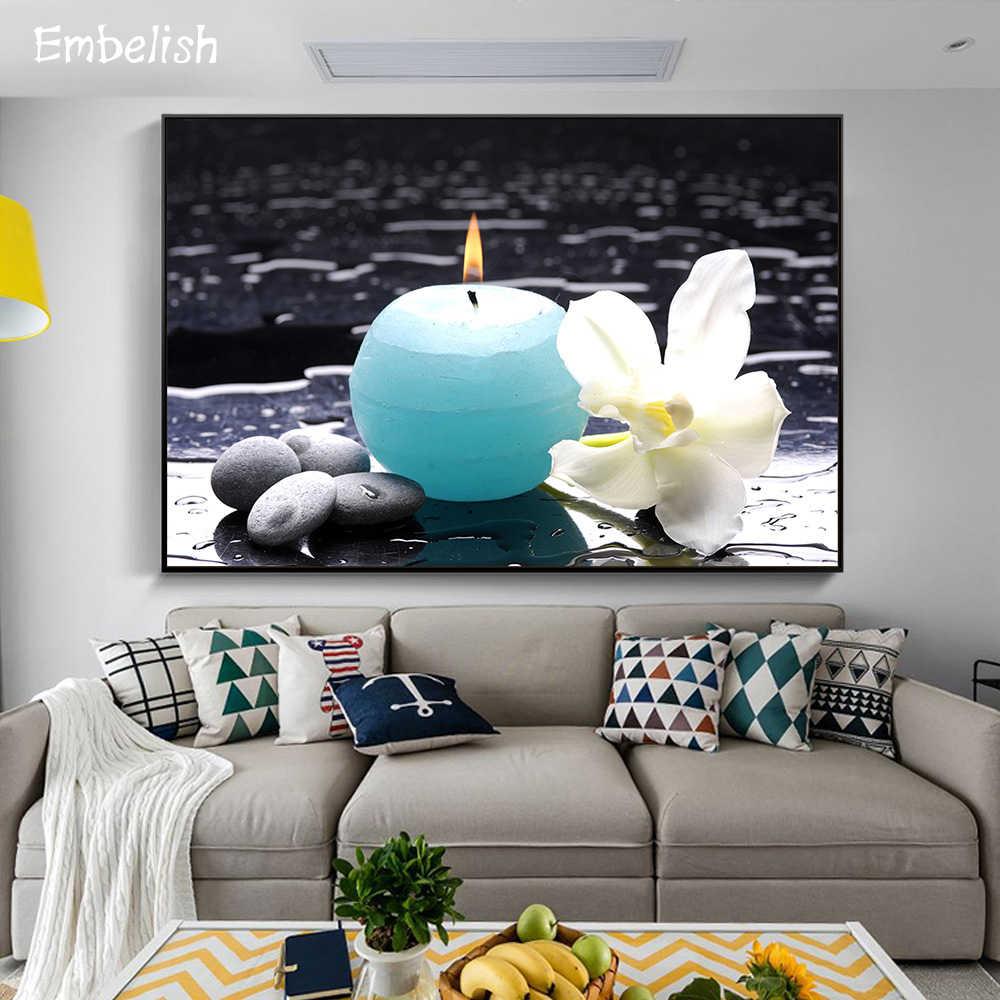 1 個ブルーキャンドルと白の花禅スパウォールアートの写真リビングルーム、モダンな家の装飾ポスター HD キャンバス絵画