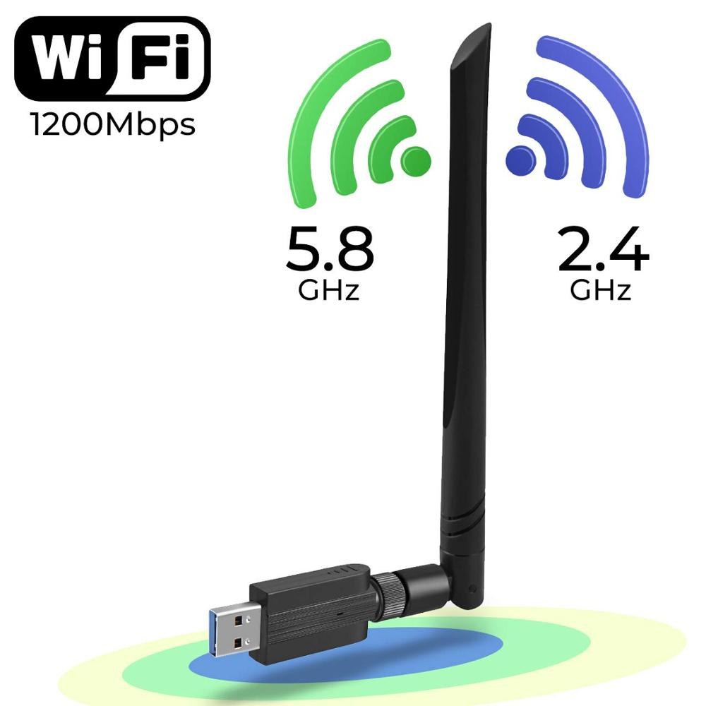 AMKLE 1200Mbps Wireless USB Wifi Adapter 600Mbps Fee Driver USB LAN Ethernet 2.4G 5.8G Dual Band USB Network Card Wifi Dongle