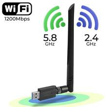 Pergelangan Kaki 1200Mbps Wireless USB WIFI Adapter 600Mbps Biaya Driver USB LAN Ethernet 2.4G 5.8G Dual Band USB Jaringan Kartu Dongle Wifi(China)
