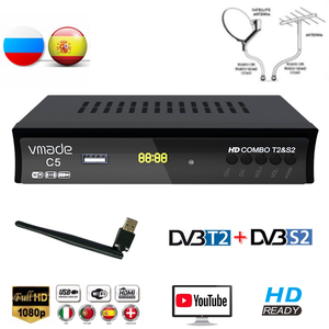 Image 1 - Vmade HD Digital DVB T2 DVB S2 Combo Satellite Terrestrial TV Tuner H.264 MPEG 2/4 Support Youtube Bisskey With USB WIFI