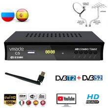 Vmade Kỹ Thuật Số HD DVB T2 DVB S2 Combo Vệ Tinh Truyền Hình Mặt Đất Bắt Sóng H.264 MPEG 2/4 Hỗ Trợ Youtube Bisskey Với USB WIFI