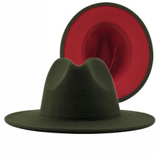 Unisex Outer Army Green Inner Red Wool Felt Jazz Fedora Hats with Thin Belt Buckle Men Women Wide Brim Panama Trilby Cap L XL(China)