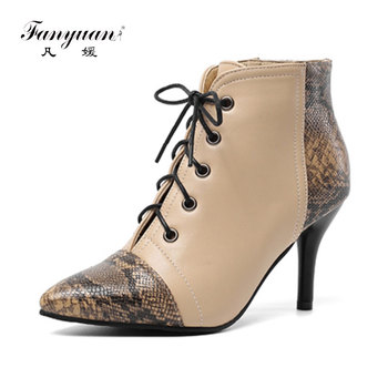 Fanyuan women's boots Dropship Big Size 30-48 Elegant Boots Woman Shoes Thin High Heels Shoelaces Ankle Boots Women Shoes Woman