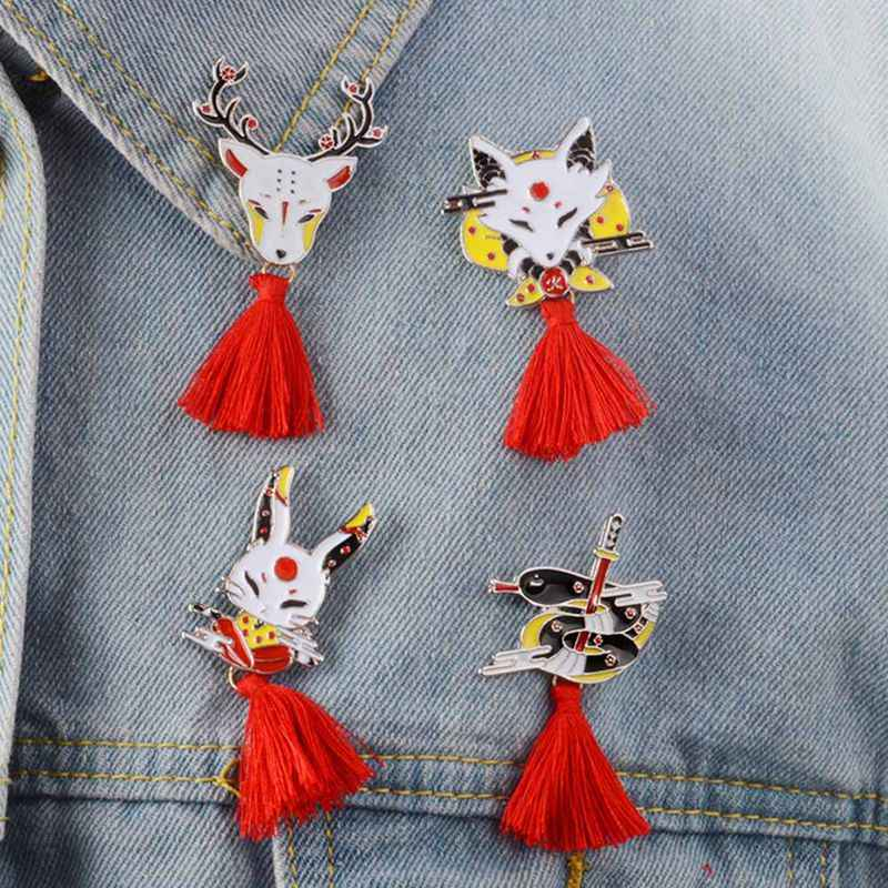 1 PC Japanse Herten Konijn Snake Fox kabuki Ninja Masker Broche Pin Met Rood Kwastje Broches Badges Revers Pin Broches dropship Nieuwe