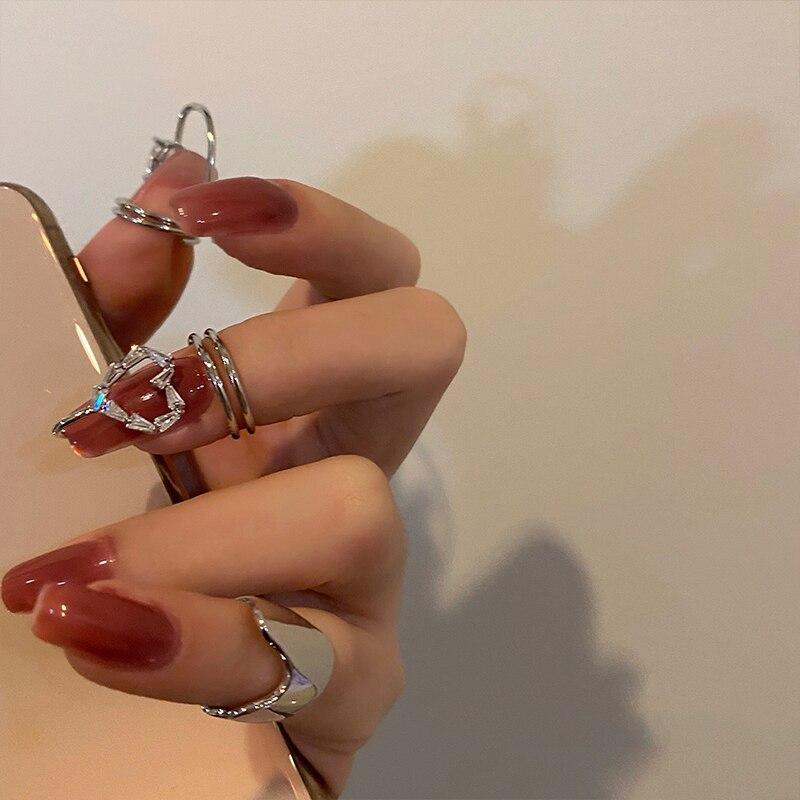 HUANZHI 2021 новые модные сердца стразы с цирконом полые нестандартные геометрические кольца для ногтей для женщин девушек Ювелирные изделия По...