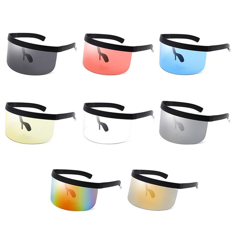 Unisex gözlük büyük boy güneş gözlüğü abartılı Visor Wrap kalkanı büyük ayna güneş gözlüğü yarım yüz kalkanı Guard koruyucu
