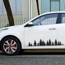 Car Stickers And Decals Pine Tree Forest Shape Car Body Sticker Waterproof PVC Auto Stickers Auto Styling Decor Car Accessories недорого