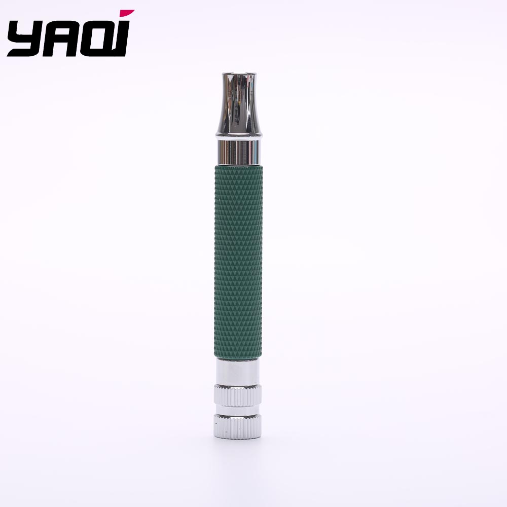 Yaqi Bottle Green And Chrome Color Brass Safety Razor Handle