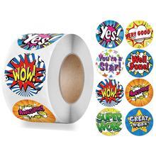 500 Pcs Reward Stickers English Very Good Cartoon Cute Words for School Student Kids Classic Toy 1 inch Encouragement Sticker