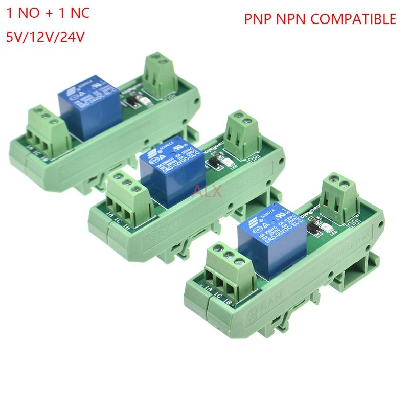 1 montagem do trilho do ruído do módulo de relé dos canais SRD-05VDC-SL-C SRD-12VDC-SL-C SRD-24VDC-SL-C 10a 5v 12v 24v dc pnp npn compatível 1no 1nc