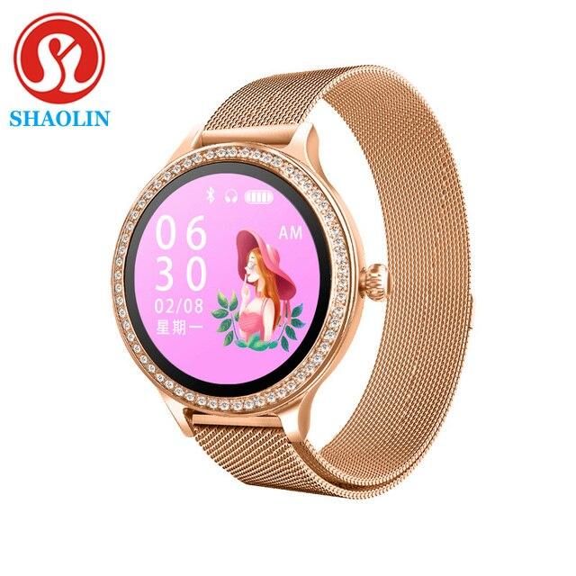 Kobieta inteligentny zegarek kolorowy ekran Sport Tracker IP68 wodoodporny tętno ciśnienie krwi kobiece przypomnienie okresu fizjologicznego