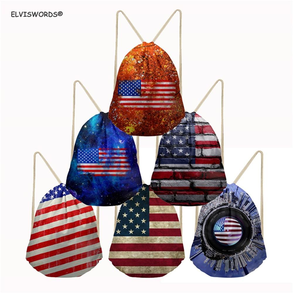ELVISWORDS Drawstring Gym Sport Bag Large Lightweight Yoga Sack Bags American Flag Print School Bag For Kids Boys Travel Bags