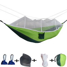 Double-Sleeping-Hammock Parachute Swing Fabric Mosquito-Net Portable Ultralight