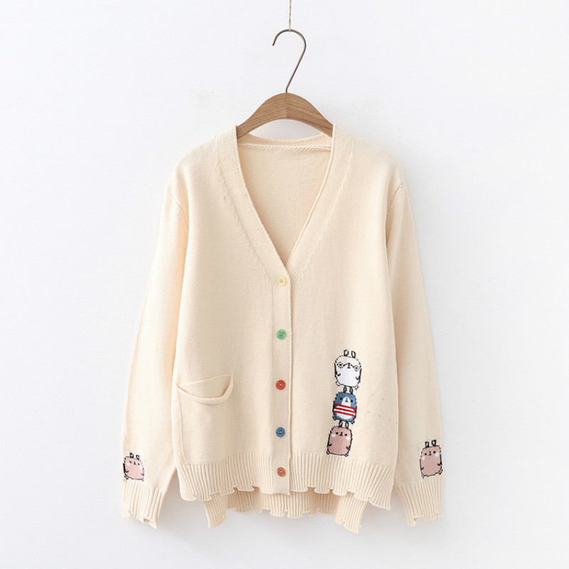 Milinsus Japanese cartoon style Womens sweater Long sleeve single pocket Cute animal Individual hem Color button Cardigan