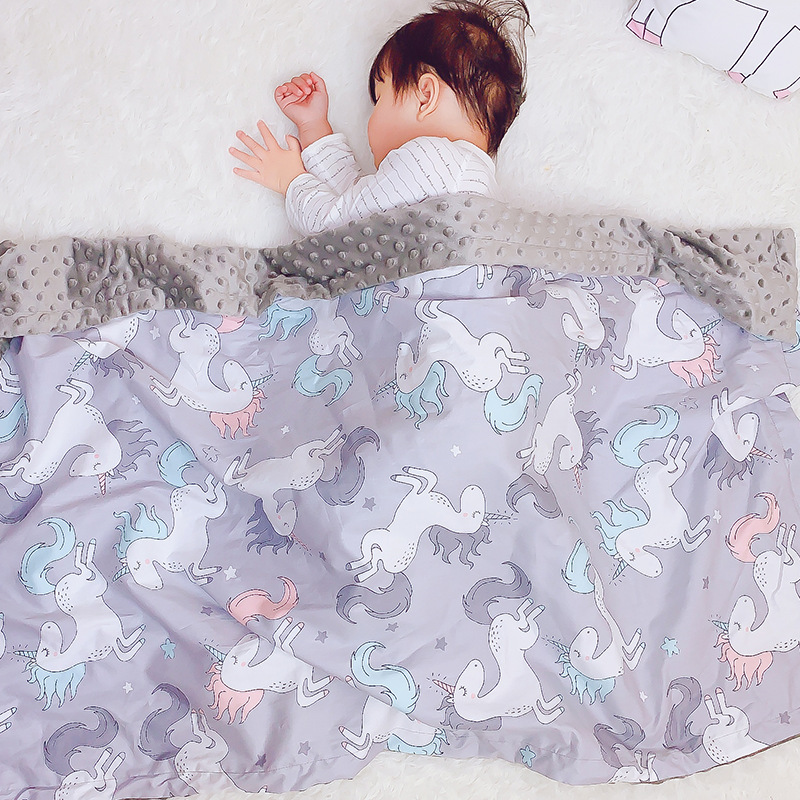 Big Size Cotton 3D Minky Dot Cartoon Cotton Soft Thermal Toddler Child Winter Baby Blanket Kids Back Seat Cover Baby Quilt