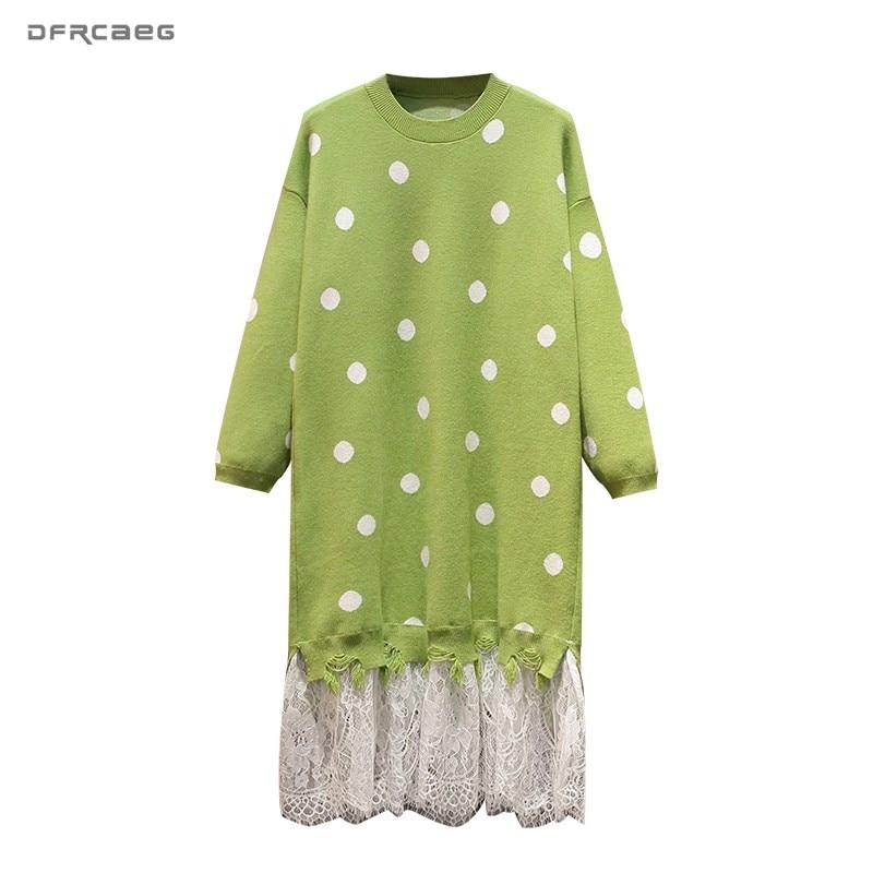3XL 4XL Loose Autumn Winter Plus Size Sweater Dress Woman 2019 Fashion Patchwork Lace Polka Dot Knit Elegant Dresses Long Female