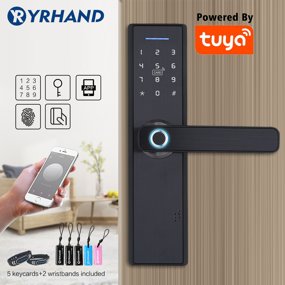 Tuya Smart Door Fingerprint Lock,Security Home Keyless Lock, Wifi Password RFID Card Lock Wireless App Phone Remote Control