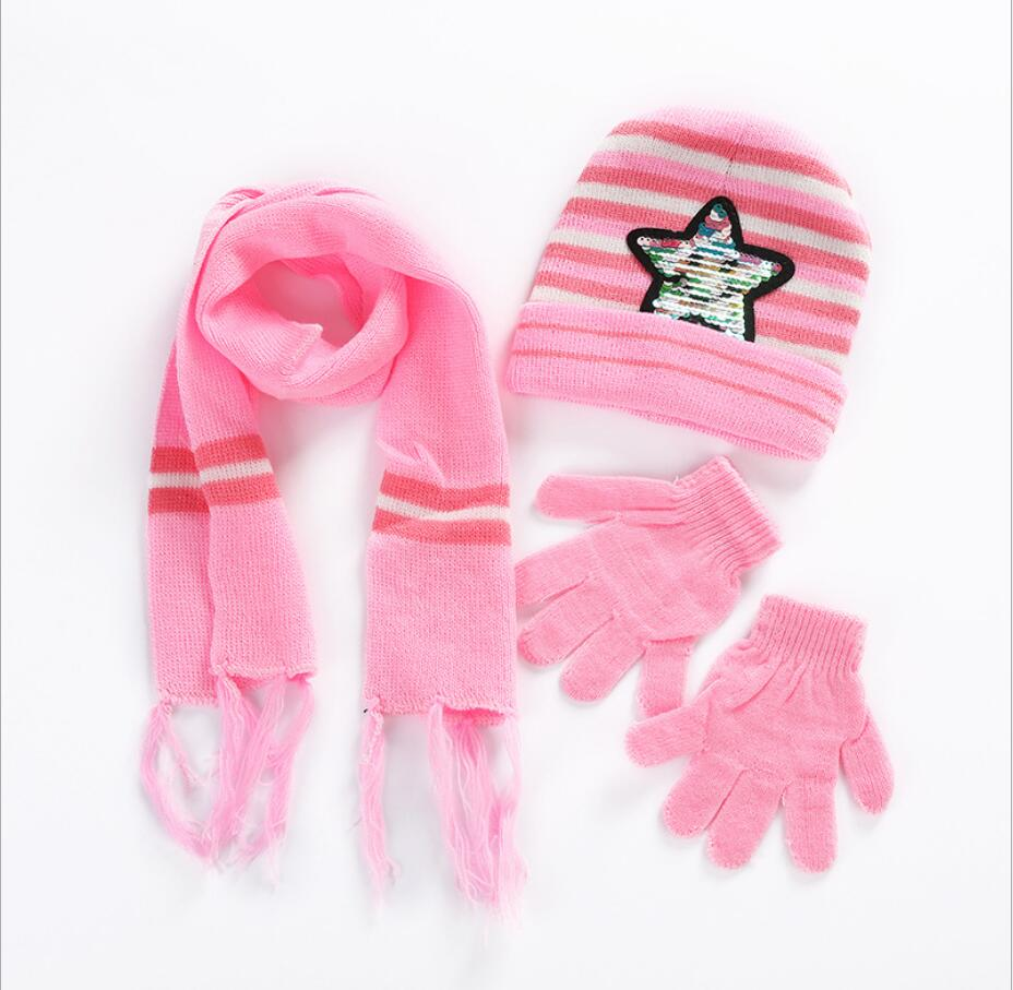 2020 Newly Sequins Pentagram Design Cute Kids Baby Hat Set Casual Star Printed Slouchy Beanies Skullies+ Scarf +Glove 3pcs Set