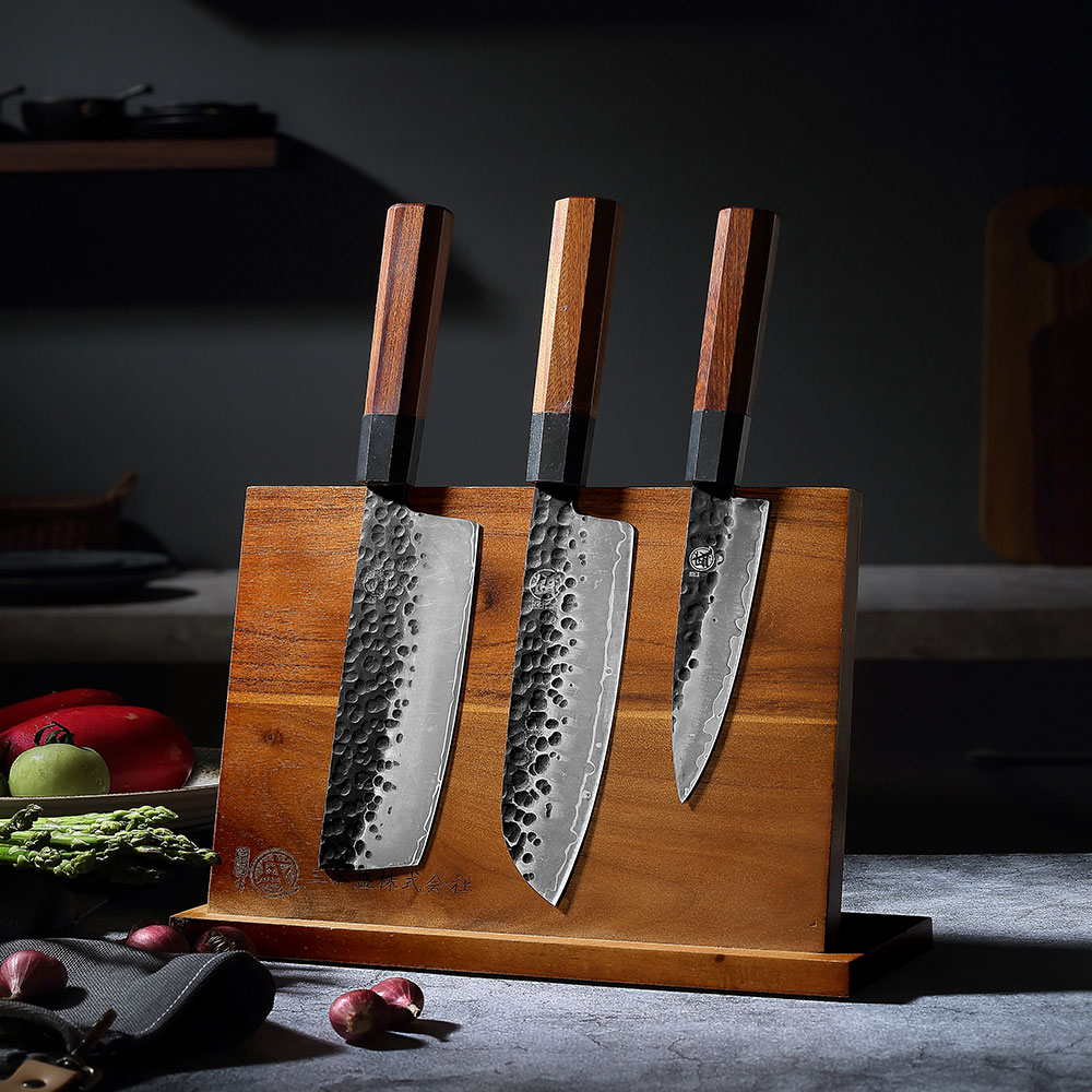 MITSUMOTO SAKARI Acacia wood Magnetic Knife Holder with Powerful Magnet Large durable Acacia Wood Knife Block without Knives