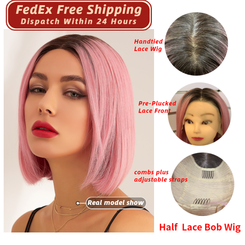 Neitsi Short Remy Human Hair Bob Wigs Natural Hairline Pre Plucked Half Lace Wig 10
