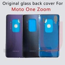 100% coperchio posteriore batteria originale per Motorola Moto One Zoom pannello posteriore in vetro custodia posteriore con colla