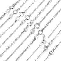 Bamoer clássico corrente básica 100% 925 prata esterlina lagosta fecho ajustável colar corrente moda jóias SCA009-45