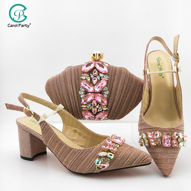 2020 Newest Italian design Fashionable Shoe and Matching Bag for Nigeria Party African Wedding Shoes and Bag Set in Pink Color