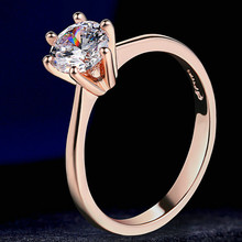 Exquisite Women's Rose Gold Crystal Zircon Ring Lady Engagement Wedding Ring Anniversary Birthday Banquet Gift Jewelry exquisite sky blue zircon crystal engagement ring oval gems rose gold wedding band ring anniversary fine jewelry gift for women