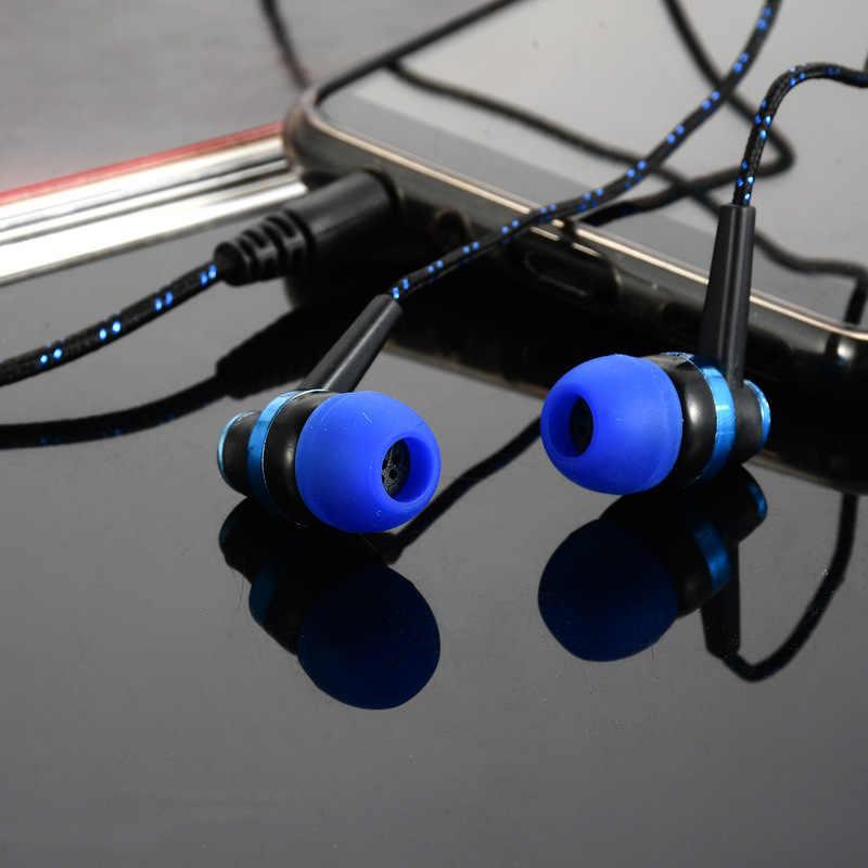 سماعات سلكية عالية الجودة العلامة التجارية الجديدة ستيريو في الأذن 3.5 مللي متر النايلون نسج كابل سماعة سماعة رأس مزودة بميكروفون لأجهزة الكمبيوتر المحمول الهاتف الذكي