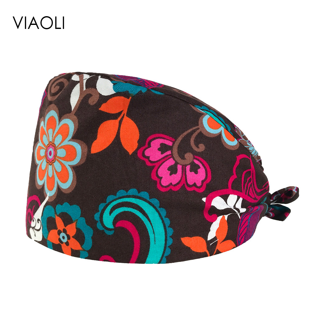 VIAOLI Men Women Medical Scrubs Pharmacy Work Cap Surgery Nurse Hat Oral Cavity Dental Clinic Pet Veterinary Surgical Cap014