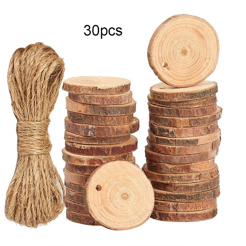 30 шт. 3-4 см необработанные круглые деревянные срезы, диски для художественных поделок, домашнее украшение, Рождественское украшение с пеньк...