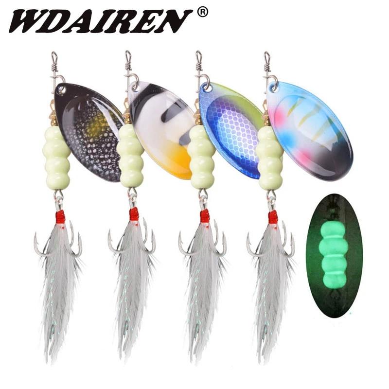 Metal Fishing Lure Luminous Spoon Spinner Baits With Treble Hooks Bass Baits