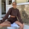 Утепленный свободный Универсальный пуловер из 2 частей С Вышивкой Букв, спортивные шорты, свободная повседневная спортивная одежда, женска...