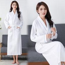 Вафельный Халат для женщин банный халат из 100% хлопка Дамский