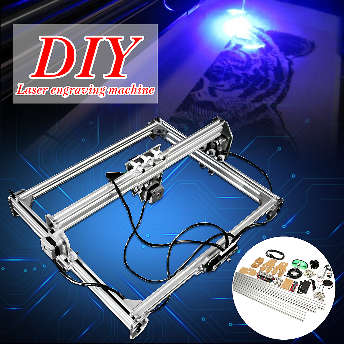 50 65cm Mini 3000MW Blue CNC Laser Engraving Machine 2Axis DC 12V DIY Engraver Desktop Wood Router Cutter Printer  Laser