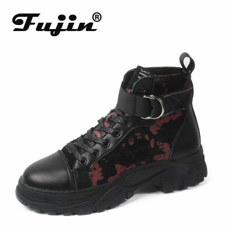 Fujin kadın çizmeler ayak bileği platformu 2020 yeni sonbahar ayakkabı yuvarlak ayak yün kış patik streç botları kaliteli kadın kış ayakkabı